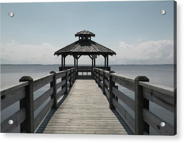 Gazebo On Wooden Boardwalk - Acrylic Print from Wallasso - The Wall Art Superstore