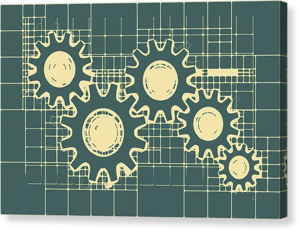 Gear Blueprint Design - Canvas Print from Wallasso - The Wall Art Superstore