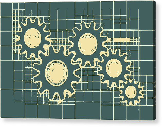 Gear Blueprint Design - Acrylic Print from Wallasso - The Wall Art Superstore