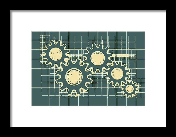 Gear Blueprint Design - Framed Print from Wallasso - The Wall Art Superstore