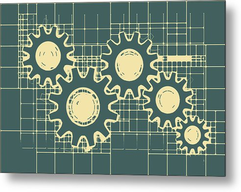Gear Blueprint Design - Metal Print from Wallasso - The Wall Art Superstore