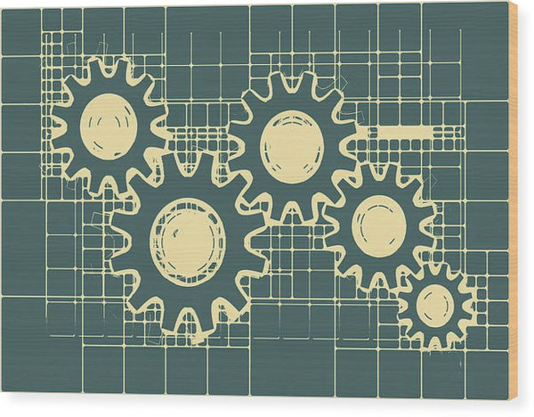 Gear Blueprint Design - Wood Print from Wallasso - The Wall Art Superstore
