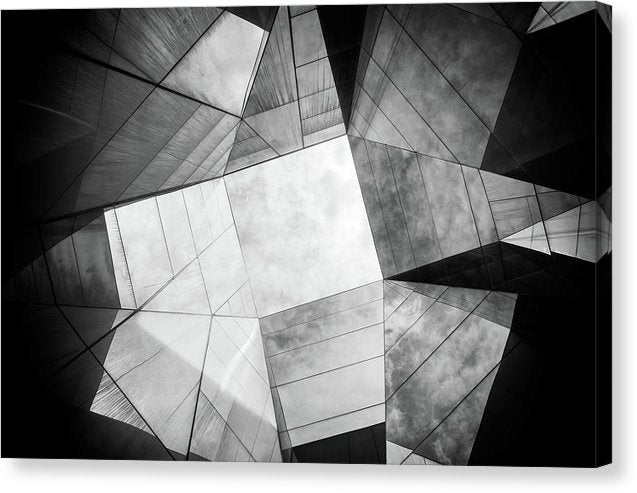 Geometric Roof Architecture, Black and White - Canvas Print from Wallasso - The Wall Art Superstore