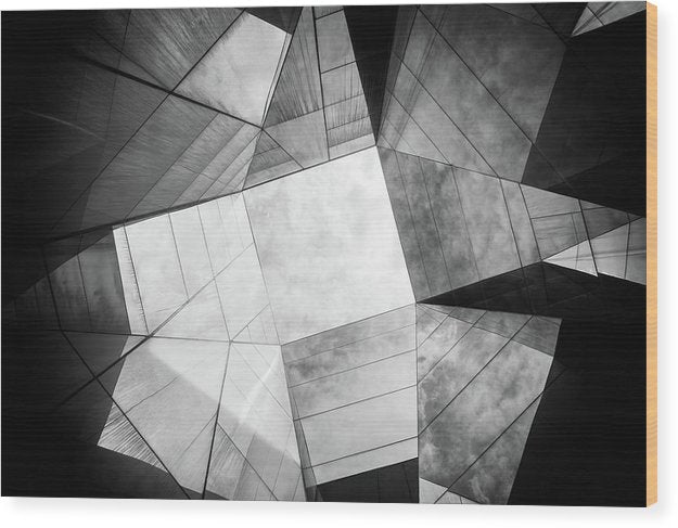 Geometric Roof Architecture, Black and White - Wood Print from Wallasso - The Wall Art Superstore