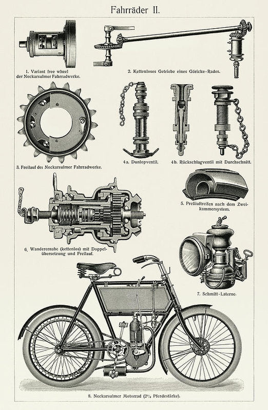German Motorized Bicycle Illustration, 1894 - Art Print from Wallasso - The Wall Art Superstore