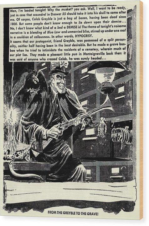 Ghoul With Musket, Raven, and Skeleton In Filing Cabinet, Vintage Comic Book - Wood Print from Wallasso - The Wall Art Superstore