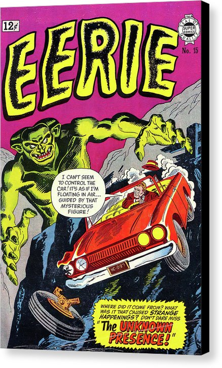 Giant Green Monster With Car Driving off Cliff, Vintage Comic Book - Canvas Print from Wallasso - The Wall Art Superstore