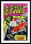 Giant Green Monster With Car Driving off Cliff, Vintage Comic Book - Framed Print from Wallasso - The Wall Art Superstore