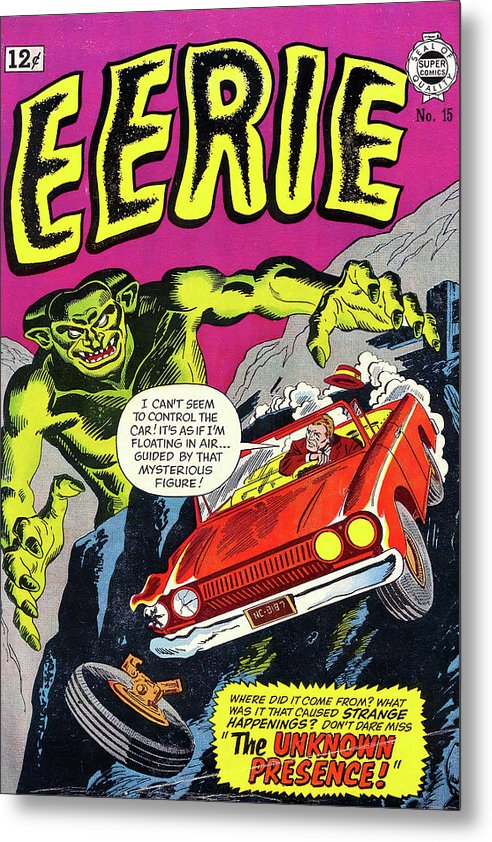 Giant Green Monster With Car Driving off Cliff, Vintage Comic Book - Metal Print from Wallasso - The Wall Art Superstore