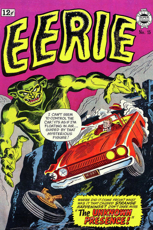 Giant Green Monster With Car Driving off Cliff, Vintage Comic Book - Art Print from Wallasso - The Wall Art Superstore