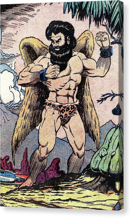 Giant Muscular Man With Wings and Loin Cloth, Vintage Comic Book - Canvas Print from Wallasso - The Wall Art Superstore