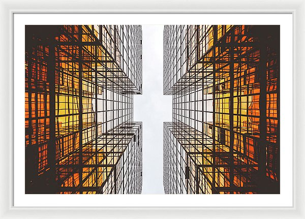 Glass Walls With Orange Reflections - Framed Print from Wallasso - The Wall Art Superstore