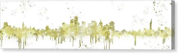 Gold Colored New York City Skyline Spray Painting Panoramic - Canvas Print from Wallasso - The Wall Art Superstore