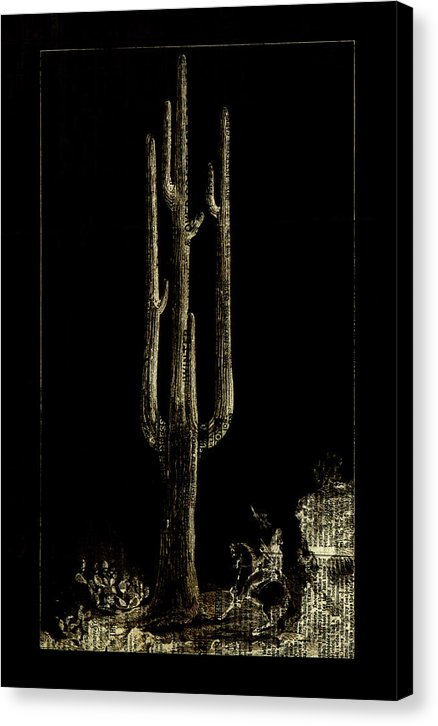 Gold Saguaro Cactus With Newspaper Overlay - Canvas Print from Wallasso - The Wall Art Superstore