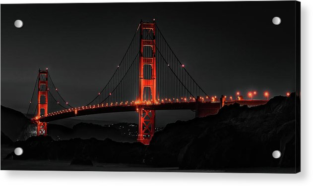 Golden Gate Bridge Red Isolated Color, Panorama - Acrylic Print from Wallasso - The Wall Art Superstore