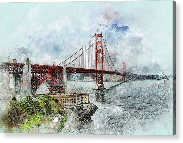 Golden Gate Bridge Painting - Acrylic Print from Wallasso - The Wall Art Superstore