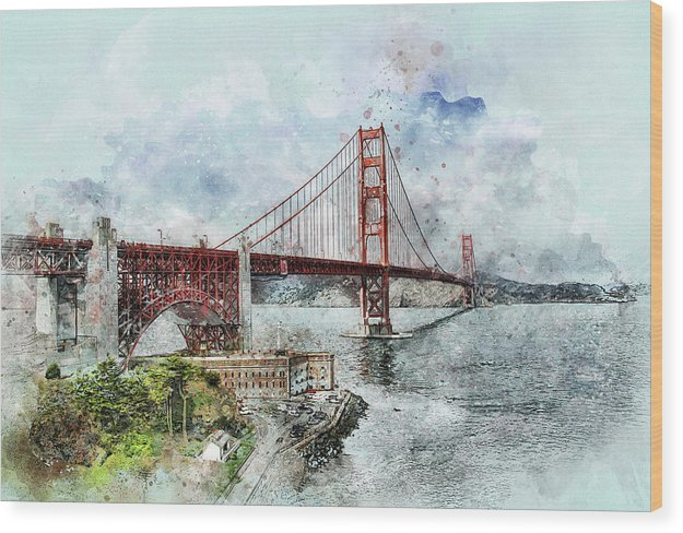 Golden Gate Bridge Painting - Wood Print from Wallasso - The Wall Art Superstore