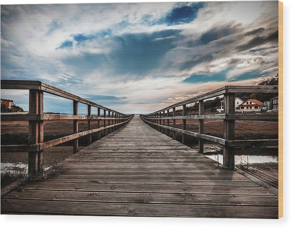 Gorgeous Boardwalk With Cloudy Sky - Wood Print from Wallasso - The Wall Art Superstore