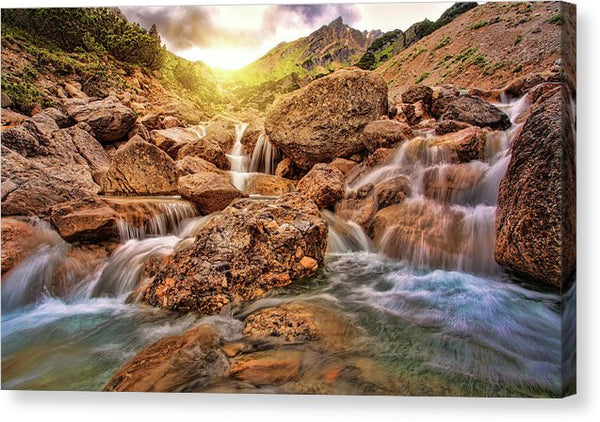 Gorgeous Cascading Waterfall With Sun - Canvas Print from Wallasso - The Wall Art Superstore