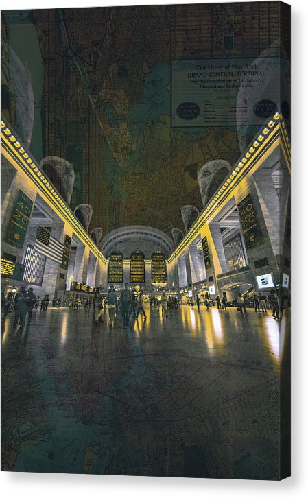 Grand Central Station With Map Overlaid - Canvas Print from Wallasso - The Wall Art Superstore