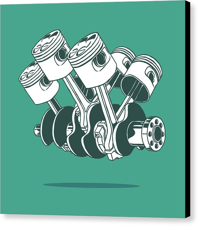 Green Car Engine Piston Illustration - Canvas Print from Wallasso - The Wall Art Superstore