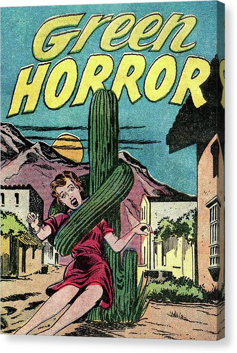 Green Horror Killer Saguaro Cactus, Vintage Comic Book - Canvas Print from Wallasso - The Wall Art Superstore