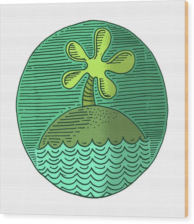 Green Line Drawing of Tropical Island Palm Tree - Wood Print from Wallasso - The Wall Art Superstore