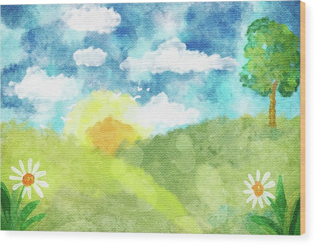 Green Pasture With Tree, Daisies, and Sunshine For Kids - Wood Print from Wallasso - The Wall Art Superstore