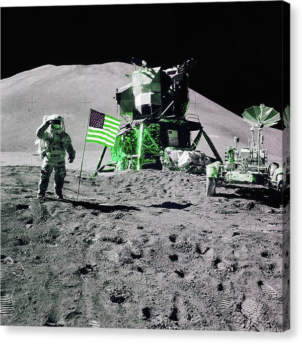 Green Pop Art Lunar Landing Astronaut Saluting American Flag - Canvas Print from Wallasso - The Wall Art Superstore