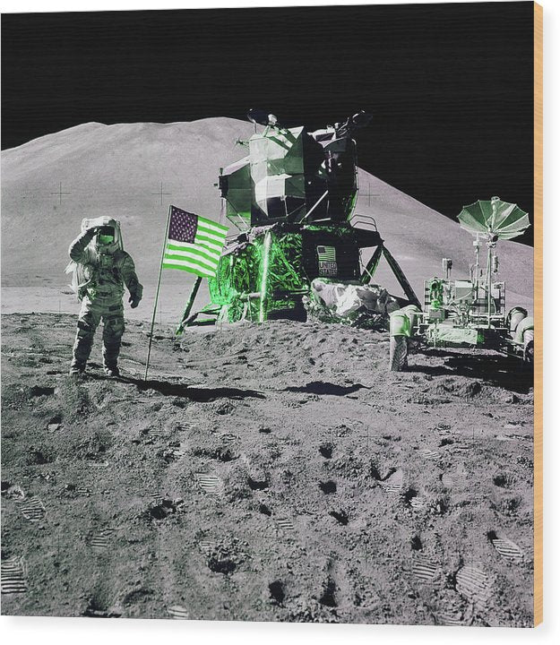 Green Pop Art Lunar Landing Astronaut Saluting American Flag - Wood Print from Wallasso - The Wall Art Superstore