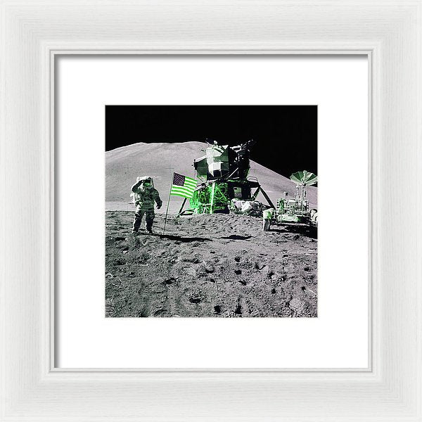 Green Pop Art Lunar Landing Astronaut Saluting American Flag - Framed Print from Wallasso - The Wall Art Superstore