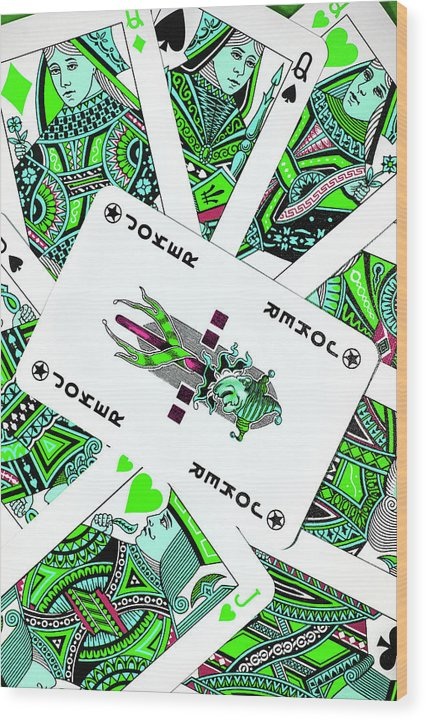 Green Pop Art Playing Cards - Wood Print from Wallasso - The Wall Art Superstore