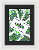Green Pop Art Playing Cards - Framed Print from Wallasso - The Wall Art Superstore