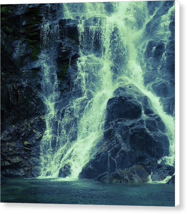 Green Tinted Waterfall, 1 of 2 Set - Canvas Print from Wallasso - The Wall Art Superstore