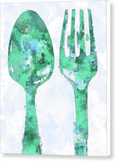 Green Watercolor Painting of Spoon and Fork Utensils - Canvas Print from Wallasso - The Wall Art Superstore