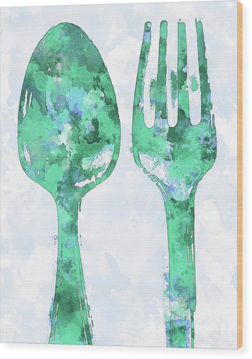 Green Watercolor Painting of Spoon and Fork Utensils - Wood Print from Wallasso - The Wall Art Superstore