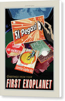 Greetings From Your First Exoplanet Visions of The Future Vintage Travel Poster - Canvas Print from Wallasso - The Wall Art Superstore