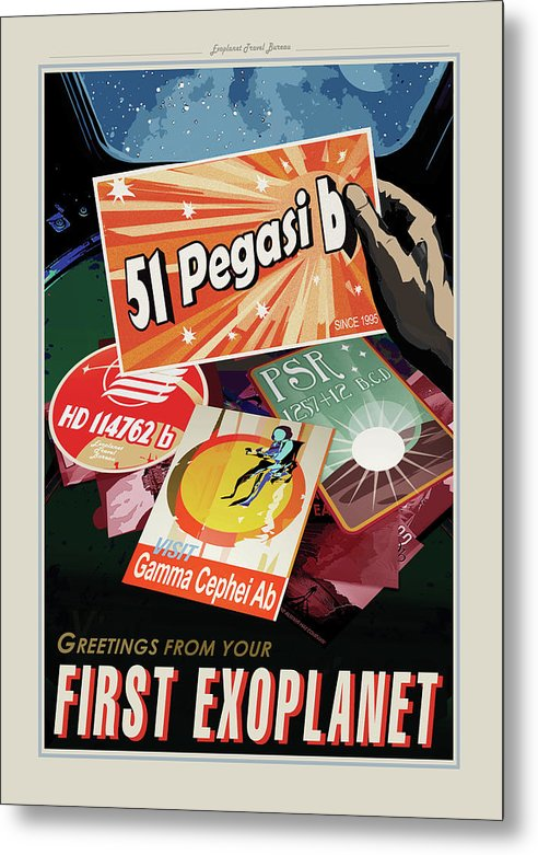 Greetings From Your First Exoplanet Visions of The Future Vintage Travel Poster - Metal Print from Wallasso - The Wall Art Superstore