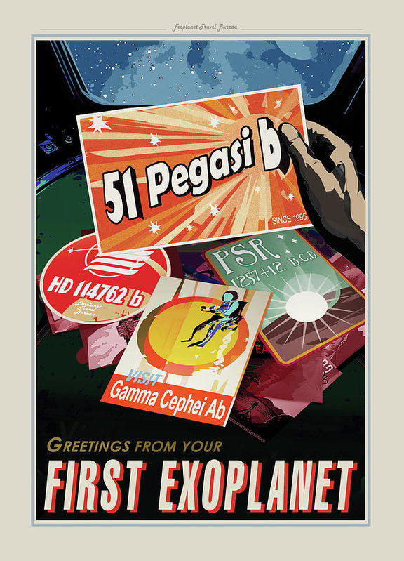 Greetings From Your First Exoplanet Visions of The Future Vintage Travel Poster - Art Print from Wallasso - The Wall Art Superstore