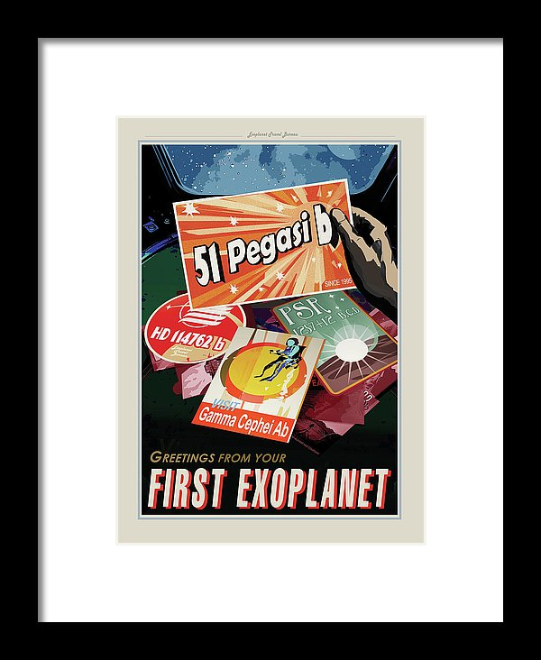 Greetings From Your First Exoplanet Visions of The Future Vintage Travel Poster - Framed Print from Wallasso - The Wall Art Superstore