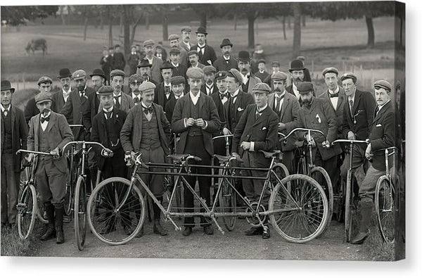 Group of Vintage Bicyclists, Tandem Bike In Front - Canvas Print from Wallasso - The Wall Art Superstore