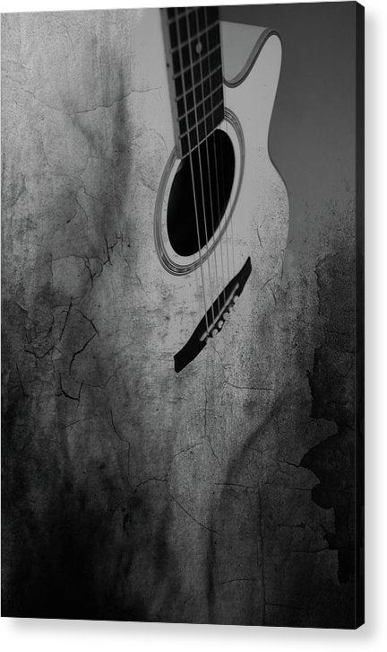 Grungy Black and White Acoustic Guitar - Acrylic Print from Wallasso - The Wall Art Superstore