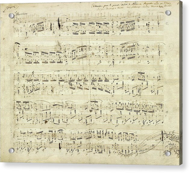 Handwritten Sheet Music by Frederic Chopin - Acrylic Print from Wallasso - The Wall Art Superstore