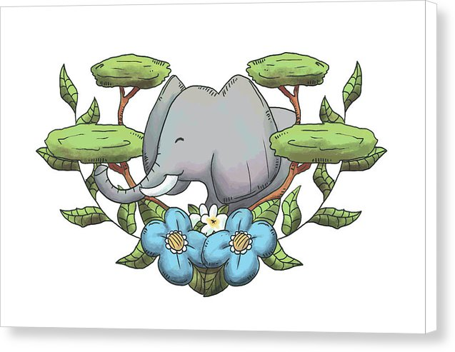 Happy Elephant Drawing For Kids - Canvas Print from Wallasso - The Wall Art Superstore