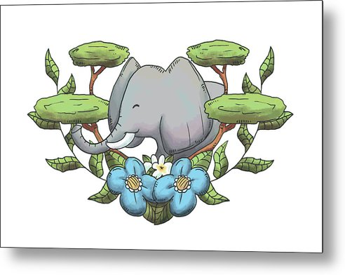 Happy Elephant Drawing For Kids - Metal Print from Wallasso - The Wall Art Superstore