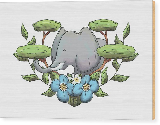 Happy Elephant Drawing For Kids - Wood Print from Wallasso - The Wall Art Superstore