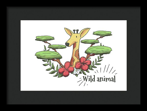 Happy Giraffe Drawing For Kids - Framed Print from Wallasso - The Wall Art Superstore