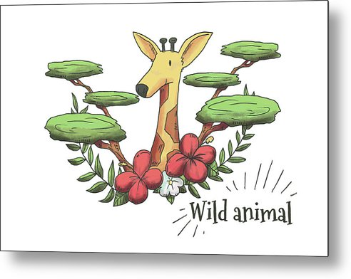 Happy Giraffe Drawing For Kids - Metal Print from Wallasso - The Wall Art Superstore