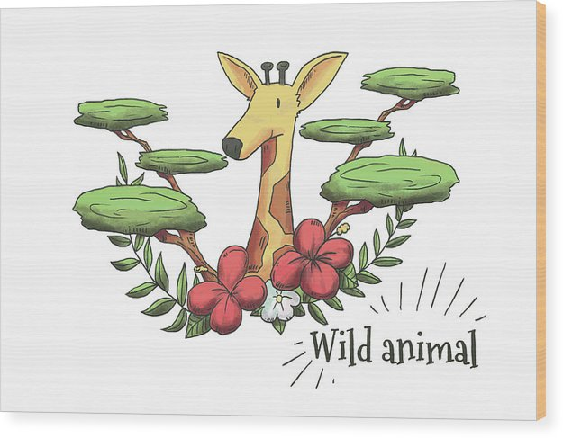 Happy Giraffe Drawing For Kids - Wood Print from Wallasso - The Wall Art Superstore