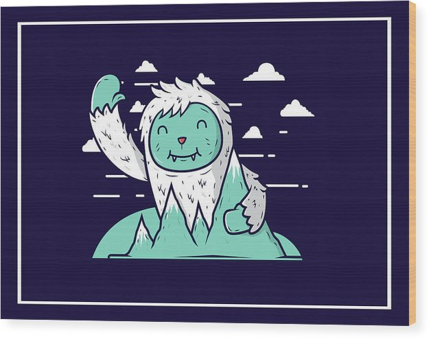 Happy Mountain Yeti For Kids - Wood Print from Wallasso - The Wall Art Superstore